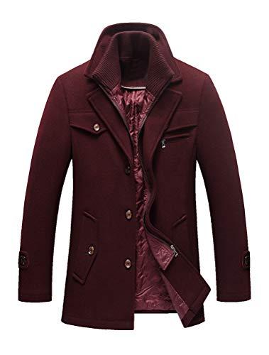 Lavnis Men's Winter Wool Coats Slim Fit Single Breasted Trench Jacket Woolen Pea Coat Burgundy Small