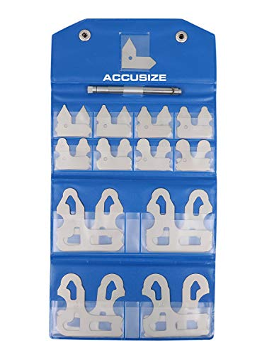 Accusize Industrial Tools 25 Pc Radius Gage Set Fractional 1/64-1/2'' Gages with Holder, 3602-5021