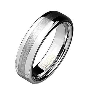 Coolbodyart Tapsi´s Ring Tisten Titan Wolfram Silber 6mm breit Ring mit Zentrum Erhoben aus gebürstetem Metall verfügbare Ringgrößen 47 (15) - 66 (21)