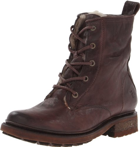 FRYE Women's Valerie Sherling Lace-Up Boot, Dark Brown, 5.5 M US