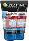 Garnier Pure Active Intense 3 in 1 Maschera Viso Punti Neri, Gel Detergente e Scrub Viso con Carbone Vegetale, 150 ml, Confezione da 2 Pezzi