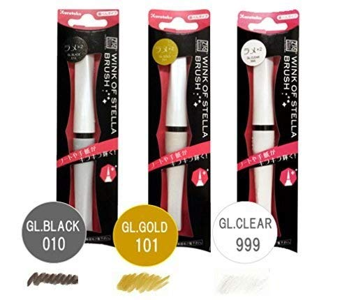 Zig Wink of Stella Brush,(No010 Glitter Black) & (No101 Glitter Gold) & (No999 Glitter Clear) Color 3pcs -Value Set