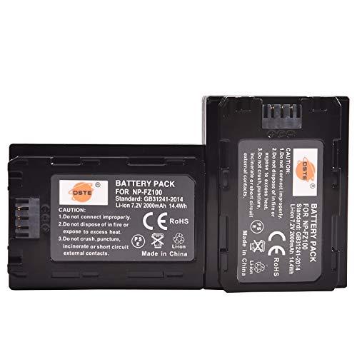 DSTE® 2PCS 7.2V 2000mAh NP-FZ100 FZ100 Recargable Digital Batería Compatible con Sony α1 A7R3 A7R III α7R III α7R3 Alpha 9 Alpha 9R Alpha a9R Alpha a9S Alpha 9S cámara as A7RM3