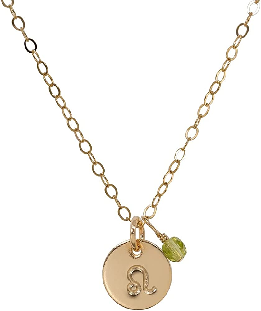 """StyledU Dainty Zodiac Necklace 14k Gold Filled Astrology Mini Disc with Birthstone Necklace Constellation Horoscope Necklace Birthday Gifts for Teen Girls and Women, 16"""" Chain"""