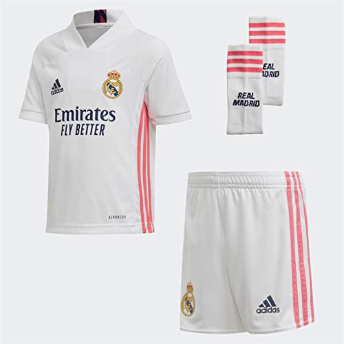 Adidas Real Madrid Temporada 2020/21 Equipación Completa Oficial, Niños, Blanco, 110 cm (4-5 años)
