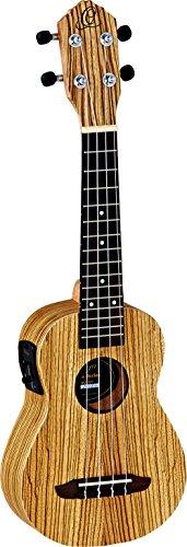 Ortega Guitars RFU10ZE Sopran Ukulele Friends Serie Preamp-System mit eingebautem chromatischem Stimmgerät Zebraholz im seidenmatten Finish mit Gigbag