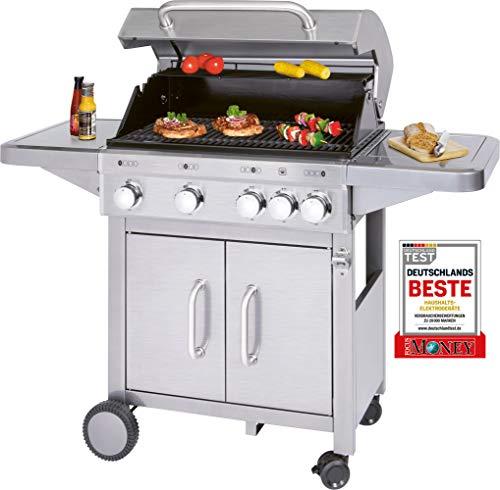 Profi Cook PC-GG 1181 Gasgrill inkl. Temperaturanzeige, Brenner + zusätzliche Kochstelle (4+1), 4 Heizzonen für indiv. Temperatursteuerung, großer Stauraum für 5 kg-Gasflaschen, Edelstahl, Silber
