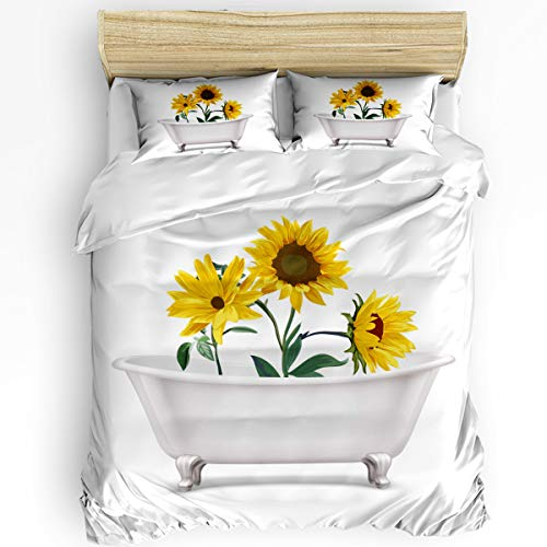 Bedroom Quilt Cover Set Full Size 3 Piece with 1 Duvet Cover and 2 Pillow Case - Fresh Sunflowers Blooming in Bathtub - Comfy Microfiber Fabric Beding Set for Men and Women's Best Modern Style