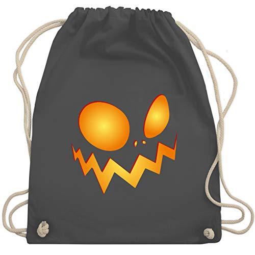 Shirtracer Halloween - Kürbisgesicht groß Pumpkin - Unisize - Dunkelgrau - turnbeutel jungen - WM110 - Turnbeutel und Stoffbeutel aus Baumwolle