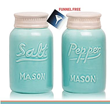 Decorative Salt and Pepper Shakers: Satisfy your Retro, Fun Country Style! Give Friends a Unique Gift of Rustic Home Décor! Cute & Chic Kitchen Accessories. Blue Vintage Ceramic Mason Jars Shaker Set