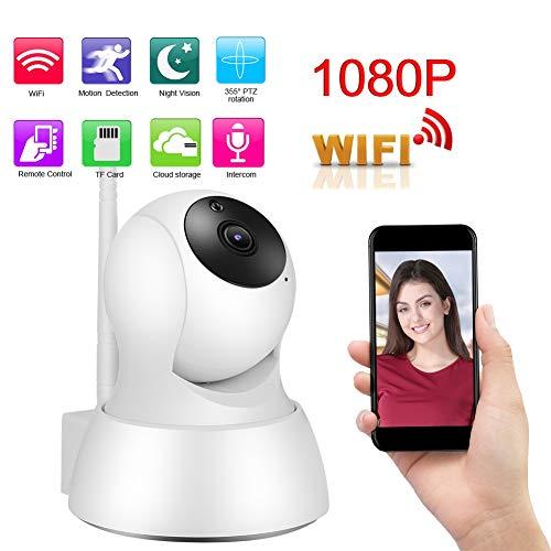 1080P HD Smart Babyphone, 1080P HD Mini WIFI Smart PTZ IR-CUT Nachtzicht Home Security Camera Ondersteuning TF-kaart / telefoonmonitor / bewegingsdetectie / spraakintercom (EU)