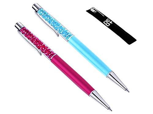Penna a sfera di alta qualità con cristalli Swarovski, include2ricariche e astuccio Set di 2: fucsia, azzurro.