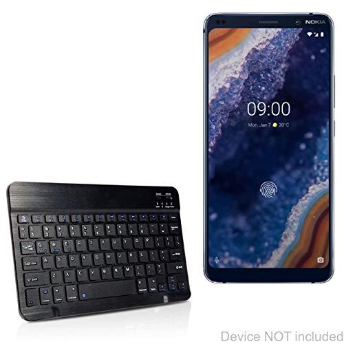 Nokia 9 PureView Keyboard, BoxWave® [SlimKeys Bluetooth Keyboard] Draagbaar toetsenbord met geïntegreerde opdrachten voor Nokia 9 PureView - Jet Black
