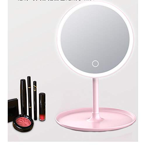 big face cat Miroir de Maquillage LED avec Lampe pour remplir la Dame de Miroir de Maquillage lumière Pliant loupe beauté Miroir de Maquillage, Rose, USB (Trois Couleurs)