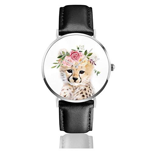 Bebé guepardo con flor corona reloj cuarzo movimiento impermeable correa de cuero para hombres mujeres simple negocios casual reloj