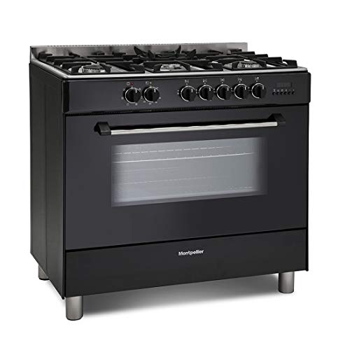 Montpellier MR91DFMK 90cm Single Cavity Dual Fuel Range Cooker - Black