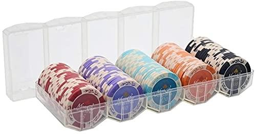 100pcs Clay Poker Chips con custodia in custodia acilica Texas Hold'em Poker Chips Casino Coins Poker Club Accessori