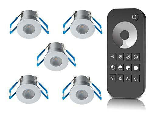 1W LED Mini Einbaustrahler, Aluminium, IP65 Wassergeschützt, 3000K Warmweiß, Dimmbar, Mini-Einbauleuchten für Innen- und Außen, ideal für Terrassendach, Bad, Dusche uvm (Silber, 5er-Set)
