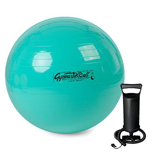 PEZZI Original Gymnastikball Standard inkl. Ballpumpe Ø 42 cm bis 75 cm Sitzball Reha Therapie Büro Stuhl (Grün, Ø 65 cm - bis 175 cm Körpergröße)