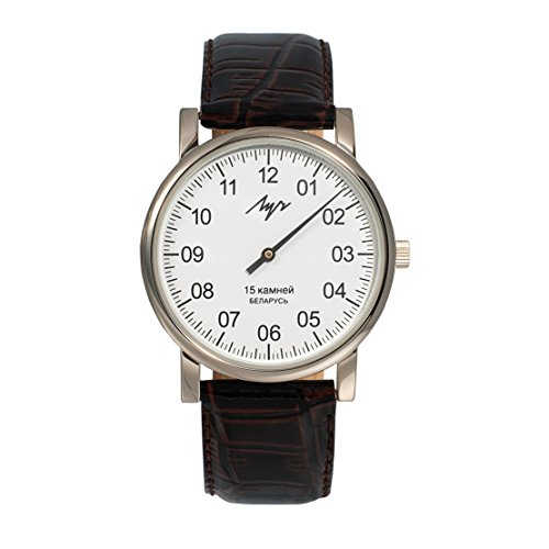 Reloj de pulsera mecánico de LUCH, con una sola manecillaEsfera blanca.Nitruro de circonio.337477760 RUS.