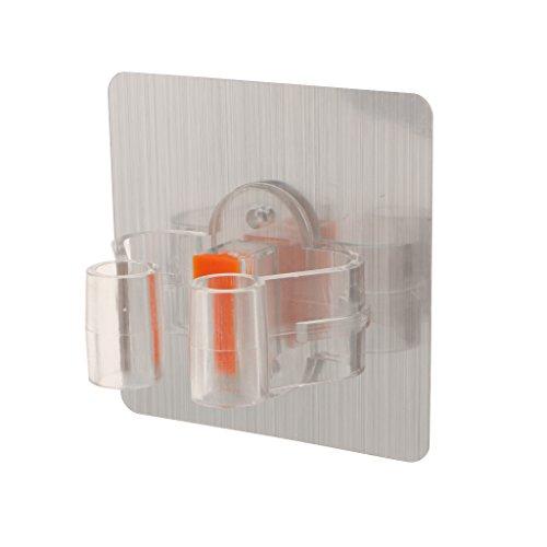 perfk Organizador de Soporte de Escoba Adhesivo Organización de Soporte de Almacenamiento Antideslizante - Plata, Individual