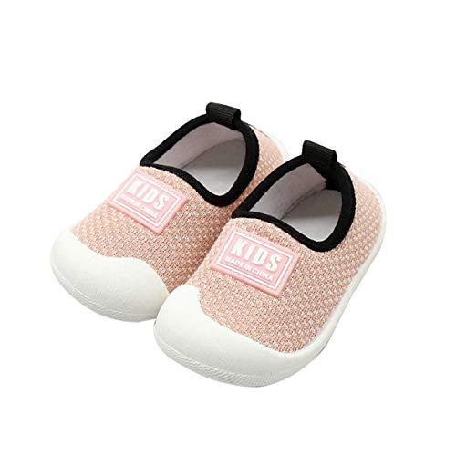 DEBAIJIA Kleinkindschuhe 0-3T Baby First-Walking Babyschuhe Einfarbig Weiche Sohle Rutschfestes Netz Atmungsaktives Leichtes PVC Material(Pink-17)