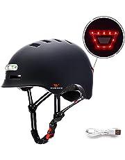 WOSAWE Casco de Skateboard, Protección de Seguridad Ajustable Casco de Bicicleta con Faro y luz Trasera de 3 Modos de Flash