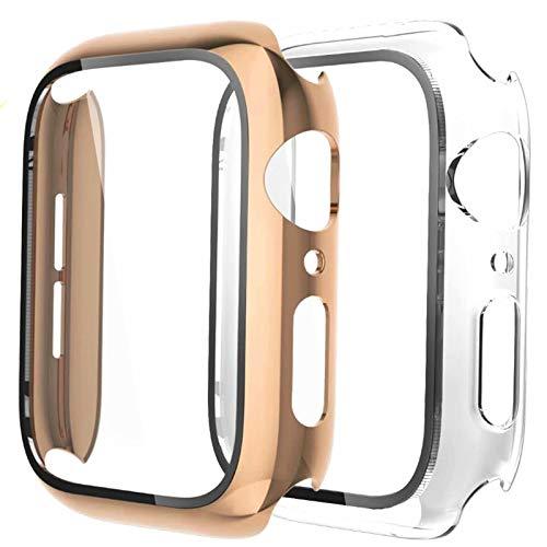 Fengyiyuda Hülle [2 Stück] Kompatibel mit Apple Watch Hülle 40mm mit Anti-Kratzen,Anti-Bläschen TPU Displayschutz Schutzfolie, 360°Rundum Schutzhülle Case für iWatch Series SE/6/5/4-Light Gold/Clear