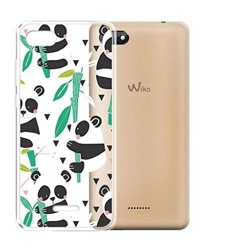 JIENI Coque pour Wiko Harry 2 (5.45') Cover Coque Ultra Slim Gel Transparente TPU, Housse Etui Silicone Bumper Case Cover Shell pour Wiko Harry 2 (5.45')(Panda Aime Le Bambou)