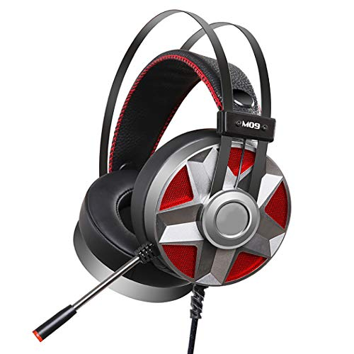 PC Headset, USB 7.1 Headset Chat Headset Office Headset Gaming Headset E-sport In-line Controle Voor Mac PC Mobiele Telefoon (Ingebouwde ruisonderdrukking Geluidskaart), Zwart Zilver