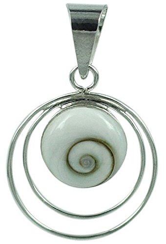 Muschel Schmuck (Anhänger) Muschel Kreiselschnecke Operculum Shiva Eye Anhänger Sterling-Silber Modellnummer 4947