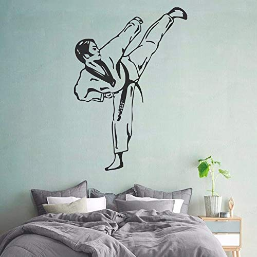 Ajcwhml Calcomanías de Pared de Artes Marciales Taekwondo Boy Fighter Gym Sport Home Interior Art Vinyl Sticker Niños Nursery Baby Room 37x54cm