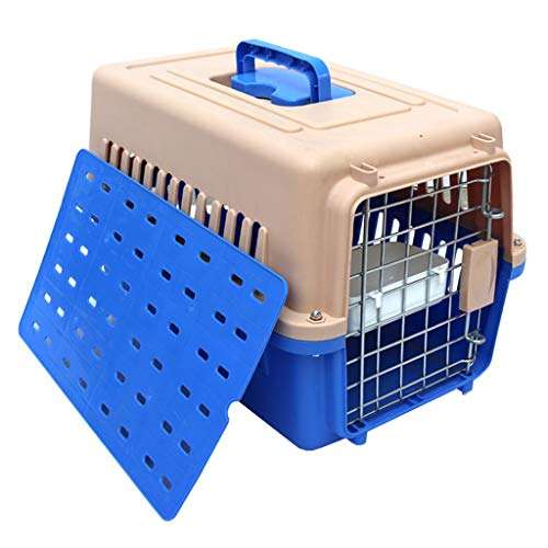 Pet Carrier Travel Toilet Portable Kattenzand Box ademende deurvergrendeling Verwisselbare (Color : Blue, Size : M)