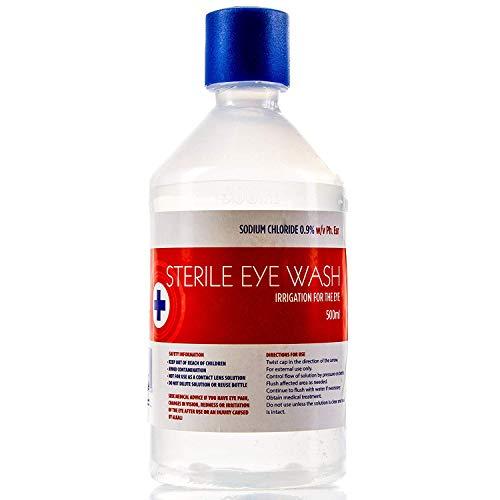 Solución salina estéril para lavado de ojos, 500 ml, 0,9%