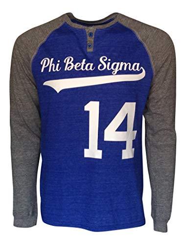 Mega Greek Herren Phi Beta Sigma Henley T-Shirt - Blau - Mittel