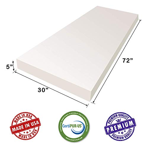 AK TRADING CO. 5' H X 30' W x 72'L Upholstery Foam Cushion CertiPUR-US Certified. (Seat Replacement, Upholstery Sheet, Foam Padding)