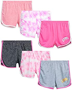 Coney Island Girls  Active Shorts - 6 Pack French Terry Athletic Dolphin Sweat Shorts  Little Kid/Big Kid  Size 7/8 Assortment #3