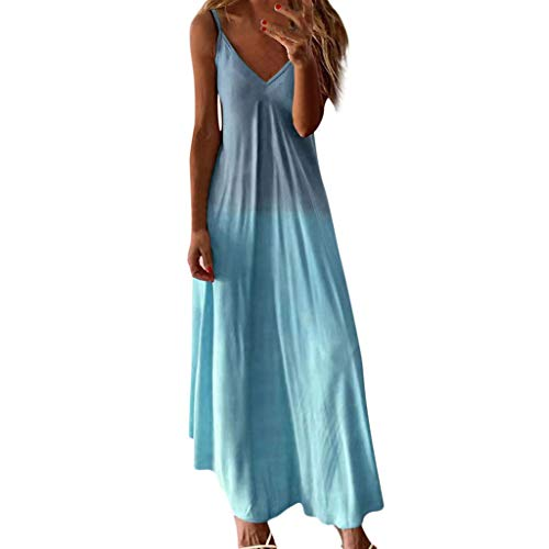 Shakumy Dresses for Women Casual, Women's Gradient V Neck Long Maxi Dress Sleeveless Plus Size Summer Party Cami Long Dress Sky Blue