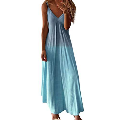 SHINEHUA Damen Sommerkleid Ärmellos Strandkleid Boho Maxikleid Spaghettiträger Lange Casual Elegant Kleider Partykleid V-Ausschnitt Maxi Kleid