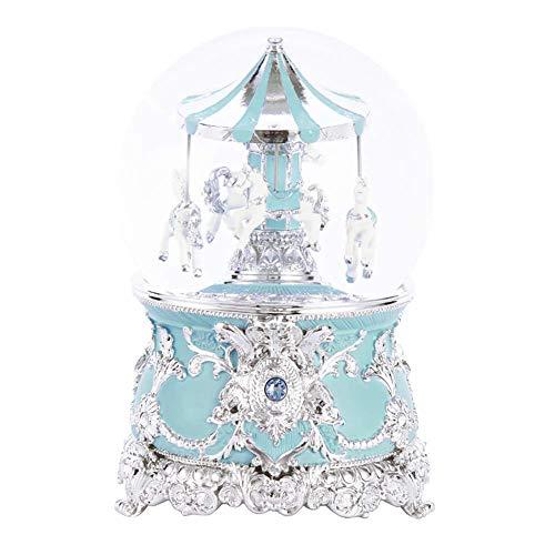 L@LILI Crystal Ball carrousel boîte à Musique, Verre de Porcelaine Froide exquise Style européen sculpté Cadeau décoration