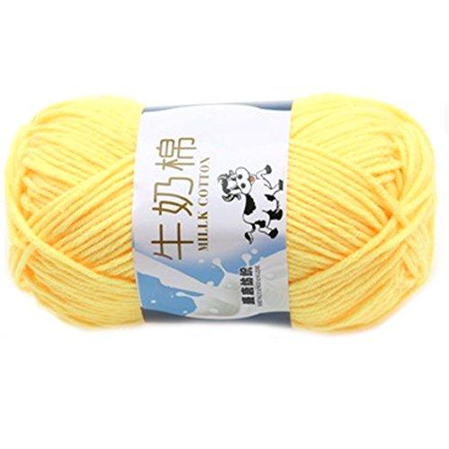 Glatte weiche Milch Cotton Natural Hand Strickwolle Garn Ball Baby Wool Craft Gelb