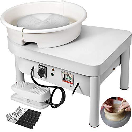 Techlifer Macchina Elettrica della Ruota di Ceramica 350W a Basso Rumore 25 CM Kit di Utensili Modellatura Ceramica per DIY con Pedale e Piatto Rimovibile
