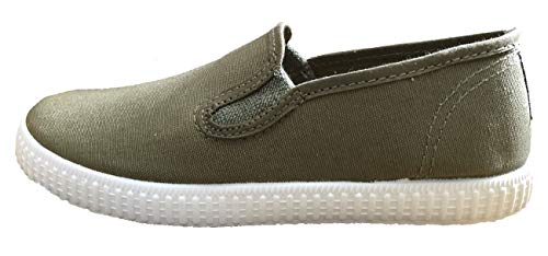 Natural World W57000 Jungen Sommerschuhe Sneakers Slipper kaki Gr. 25-33 (31 EU, Oliv)