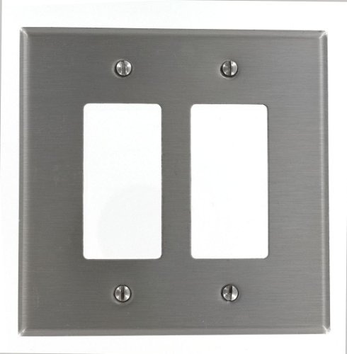 Leviton SO262 2-Gang Decora/GFCI Device Decora Wallplate, Oversized, 302 Stainless Steel, Device Mount, Stainless Steel by Leviton