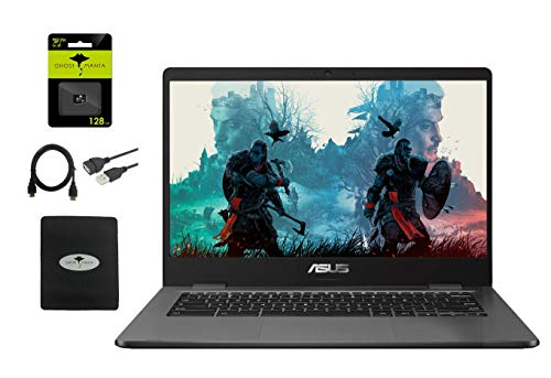 2021 ASUS 14' Light Thin Chromebook Student Laptop, Intel Celeron N3350, 4GB RAM 32GB eMMC, Webcam, Chrome OS(Google Classroom Zoom Compatible) W/ GM 128GB SD Card + 3in1 Accessories