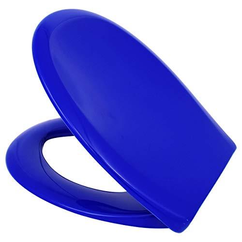 LUVETT® PREMIUM WC-SITZ C770 oval mit Absenkautomatik SoftClose® & TakeOff® EasyClean Abnahme, hygienisch & beständig: Urea Duroplast Toilettendeckel, rostfreier Edelstahl, Farbe:Blau