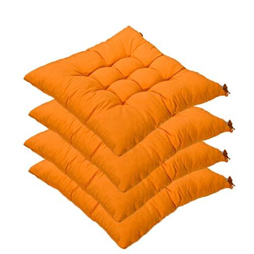 AGDLLYD Set da 4 Cuscino Sedia,Cuscini per Giardino, per Dentro e/o Fuori,40x40 cm,Disponibile in Tanti Colori Diversi,Cuscini per sedie da Giardino,Copri Sedia Cucina (Arancione)