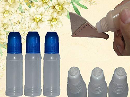 【アマゾン倉庫より即納 レザークラフト 空ボトル 50mL 3個セット コバ塗り 糊入れ ノリ空ケース 上部スポンジ のり詰め替え用 皮革コバ塗り 液体のり用ケース