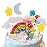 Colorido Rainbow Cake Topper, banderas de pastel de boda Cupcake Picks Set Nube Globo Luna Estrellas Niño Niña Kid Cumpleaños Baby Shower Party Suministros de decoración