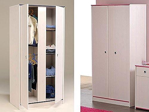 expendio Kleiderschrank 2-türig 90x182x51cm Weiß Rosa + blau, Schlafzimmerschrank Drehtürenschrank Snoopy 11
